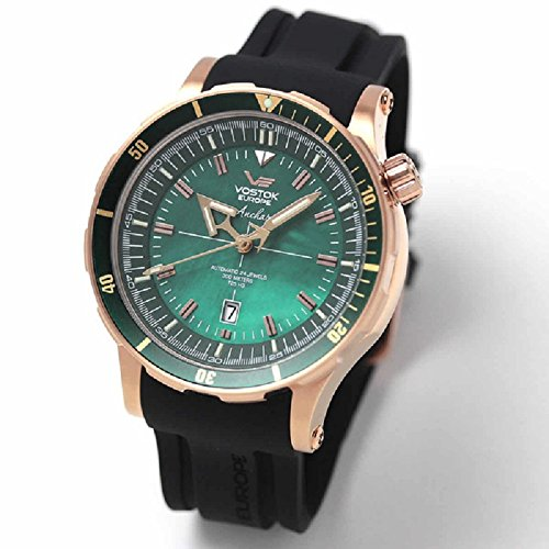 Vostok-Europe Anchar Men's Automatic 24J Diver Watch Rose Gold with Green Pearl Dial NH35A/5109248