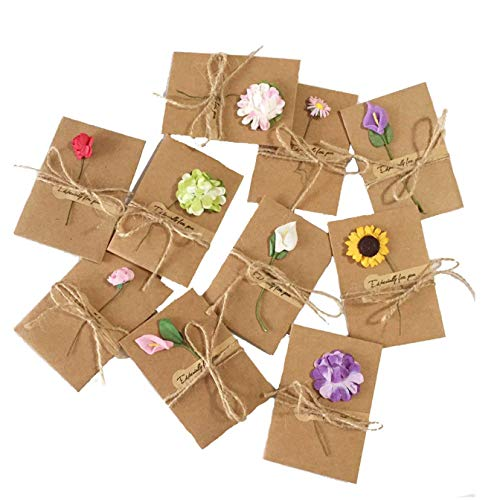 Handmade Blank - Dried Flowers Greeting Cards, 50PCS Handmade Greeting Cards Vintage Kraft Blank Note Card Thank Notes for Birthday Party Invitation Card