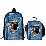 HUGS IDEA Kitten Cat Printing School Backpack Kids Schoolbag with Lunch Bag
