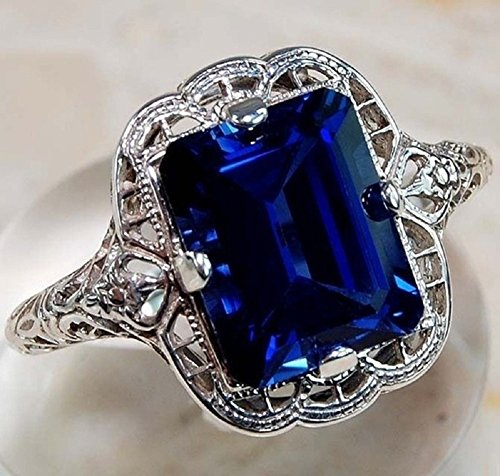 Yuren Elegant Huge Natural 3.5Ct Tanzanite 925 Silver Sapphire Ring Women Wedding Engagement Size 6-10 (US code 9)