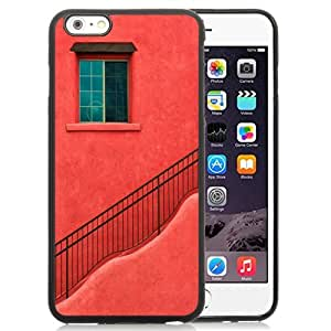 NEW Unique Custom Designed iPhone 6 Plus 5.5 Inch Phone Case With Red House Wall Window Stairs_Black Phone Case