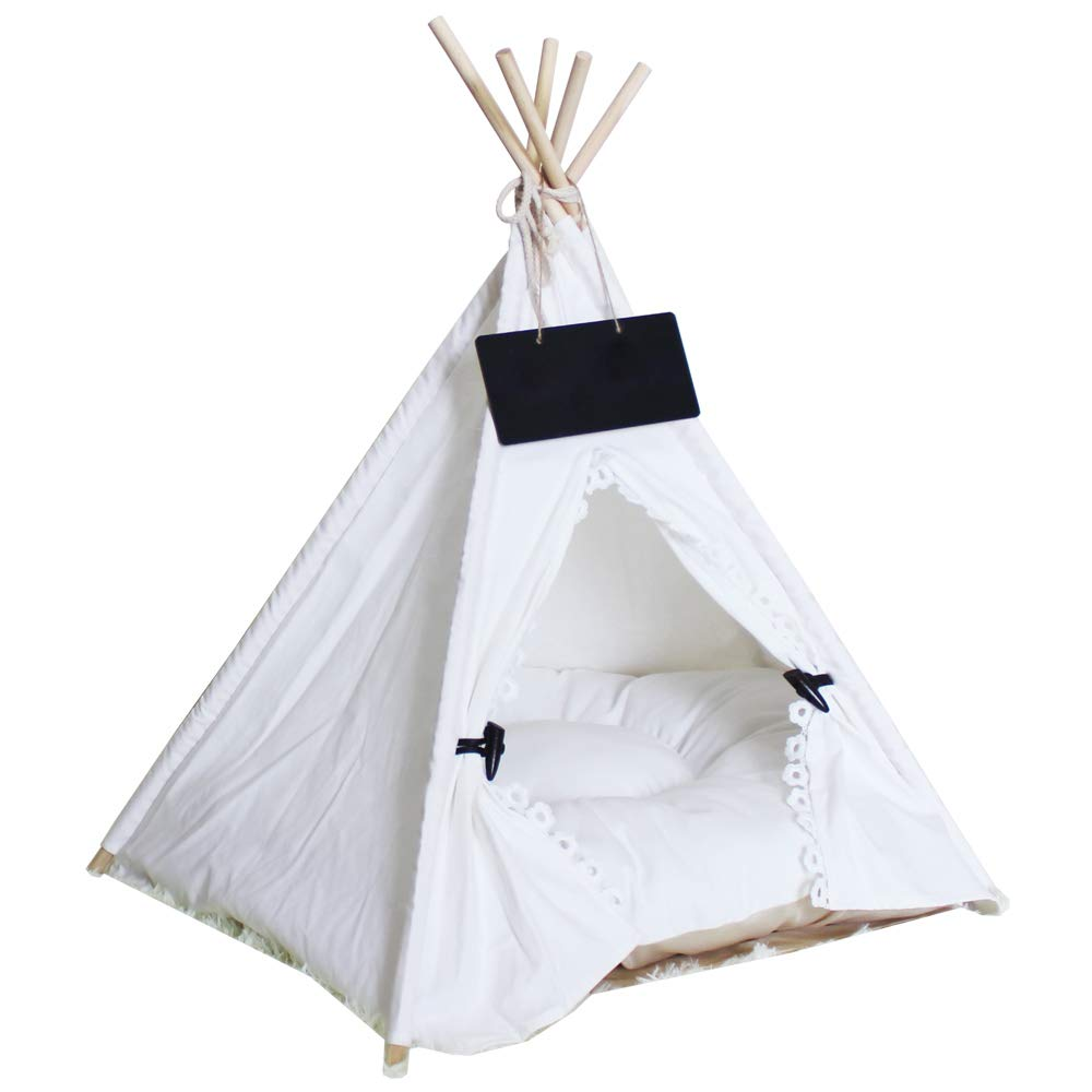 Norgail Pet Teepee Tent for Dogs Puppy Cat Bed Portable White Canvas Dog Cute House Indoor Outdoor Tent Small Medium Pet Teepee with Floor Mat 24inch