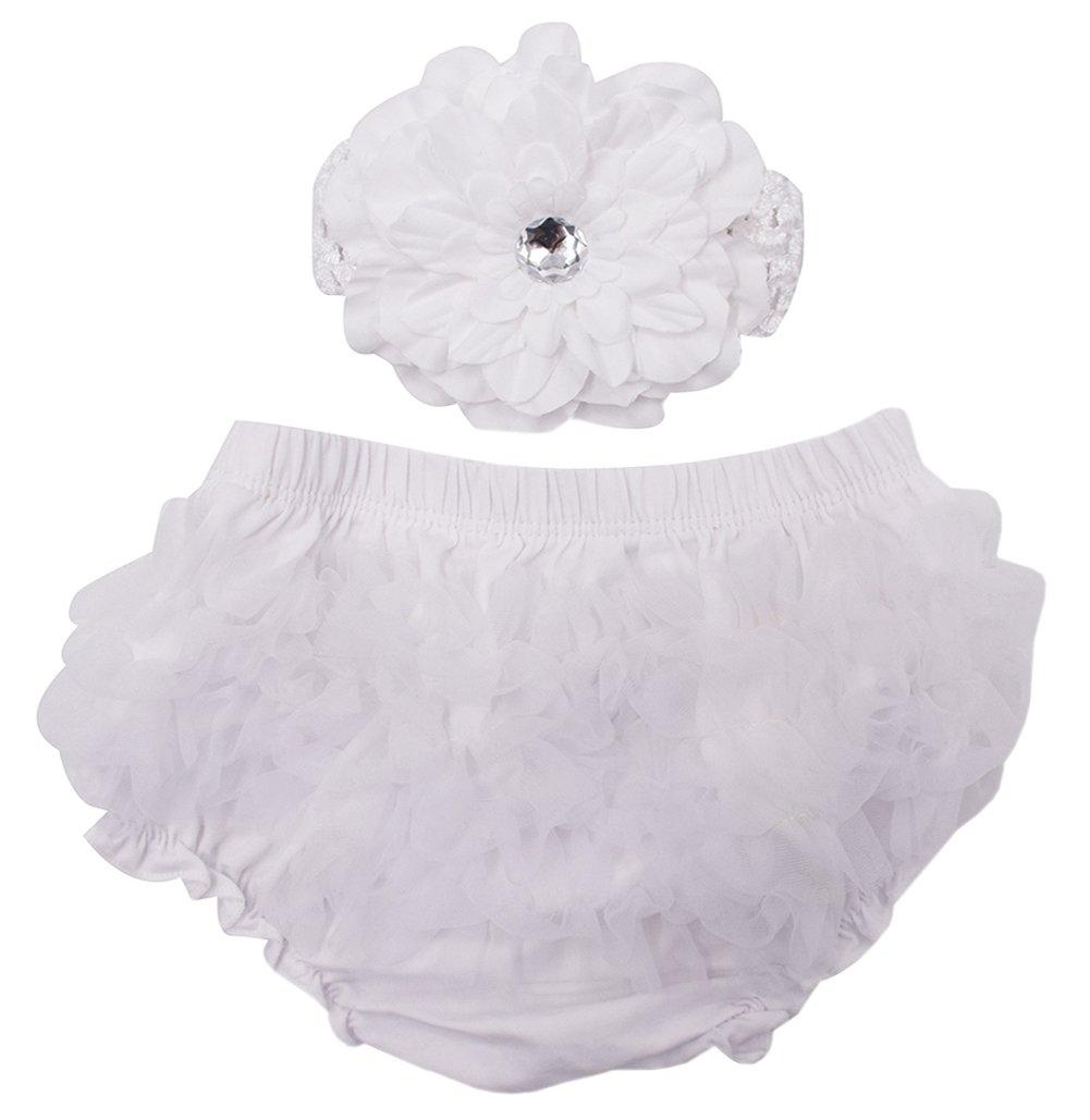 Ruffled White Flowers Baby//Toddler Baby Girls Cotton Diaper Covers