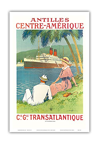 Pacifica Island Art Antilles Central America - (CIE GLE) (French Line) - SS Flandre Cruise Ship - Vintage Ocean Liner Travel Poster by Sandy Hook c.1970s - Master Art Print - 12in x 18in