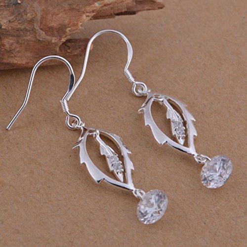 Boucles d'oreilles feuille cristal swarovski elements zirconium argent 925