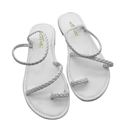 31286e81208c7 Image Unavailable. Image not available for. Color  Outsta Women Summer  Strappy Gladiator Low Flat Heel Flip Flops Beach Sandals Shoes (White