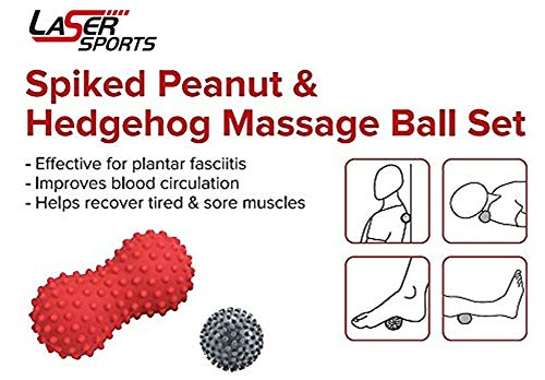 Laser Sports Spiked Peanut Roller & Hedgehog Foot Massager Ball Set - Ideal for Plantar Fasciitis, Concentrated Pressure, and Targeted Pain Relief