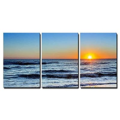 Sunset at Dunas Douradas Beach Seascape Famous Destination in Algarve Portugal x3 Panels, Top Quality Design, Delightful Object of Art