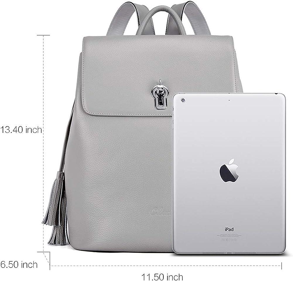 Cluci Women Backpack Purse Genuine Leather Fashion Large Travel Designer Ladies Flap Shoulder Bag mit Tassel
