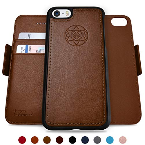 Dreem Fibonacci 2-in-1 Wallet-Case for iPhone 5 & SE, Magnetic Detachable Shock-Proof TPU Slim-Case, RFID Protection, 2-Way Stand, Luxury Vegan Leather, Gift-Box - Chocolate