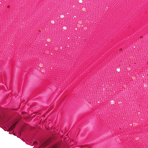 Shi Tou-Clothes Short Skirt for Woman Paillette Elastic 3 Layers Skirt Adult Tu Hot Pink by Shi Tou-Clothes (Image #3)