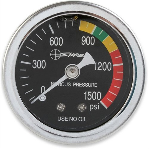 stem 15933NOS Sniper Nitrous Pressure Gauge 1.5 in. Dia. Black Dial Face w/White Needle 0-1500 psi Liquid Filled 1/8 in. NPT Inlet Threads Sniper Nitrous Pressure Gauge (Nos Nitrous Oxide)