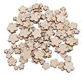 OmkuwlQ 100pcs Flower Wooden Chip 5 Petal Living Room Bedroom Wall Decorations Eco-Friendly Ornament