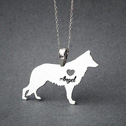 Personalised German Shepherd Necklace - German Shepherd Name Jewelry - Dog Jewelry - Dog breed Necklace - Dog Necklaces ()
