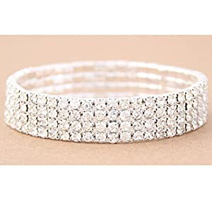 Howstar Pet Necklace Collars, Dogs Bling Necklace Rows Elastic Collars (4 Rows, S)