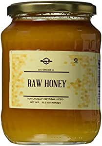 Honey Bee Raw Linden Honey (Pure Unprocessed & Unfiltered Naturally Crystallized) (35 oz)