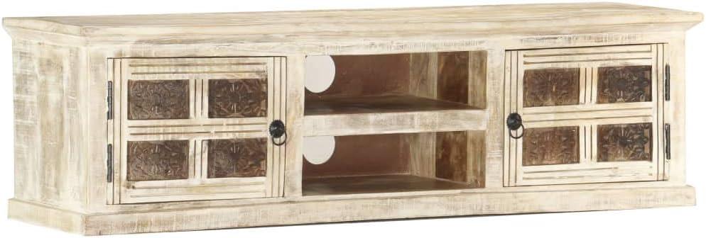 Benkeg Mueble para TV de Madera Maciza de Mango Blanco130 x 30 x 36 cm s, Mesa para TV Mesa de Salón: Amazon.es: Hogar