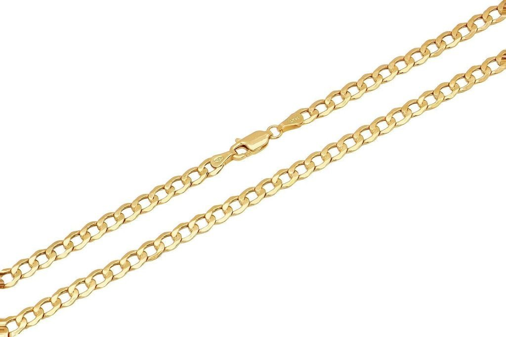 14K Yellow Gold 4mm Cuban Curb Link Chain Necklace Lobster Clasp, 20 Inches