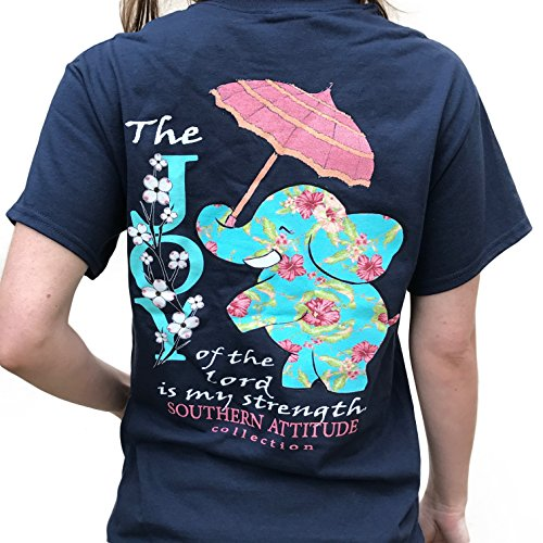 Southern Attitude Joy Of The Lord Is My Strength Elephant Short Sleeve Shirt (Navy)