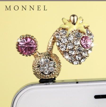 ip651 Cute Crystal Strawberry Dust Proof Phone Plug Cover Charm For iPhone 4 4S