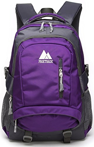 ProEtrade Durable Water Resistant Travel Outdoor College School Backpack Daypack (Purple)