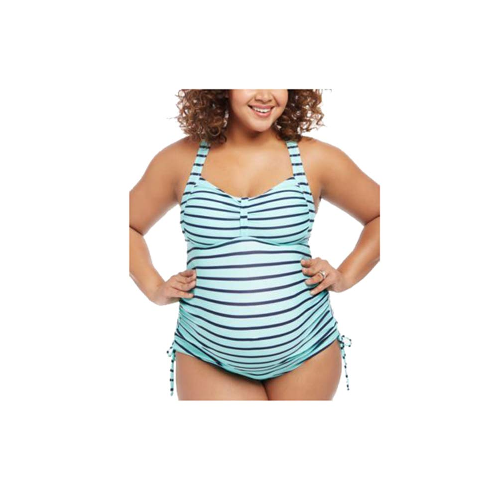 Gagacity Umstandsbademode Schwangerschaft Tankini Zweiteiler Verstellbar Hang Hals Gestreifter Badeanzug Beachwear S-5XL