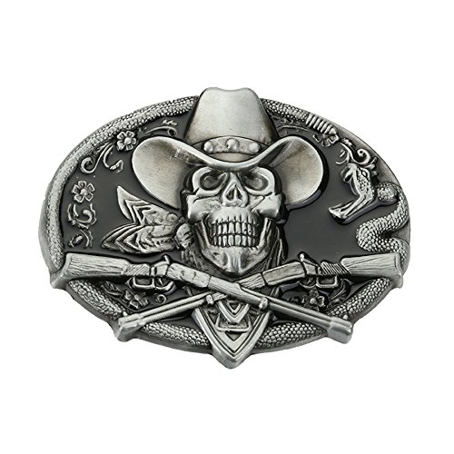Skull Rifles Western Raised design Belt Buckle Original Cowboy - Design Belt Buckle