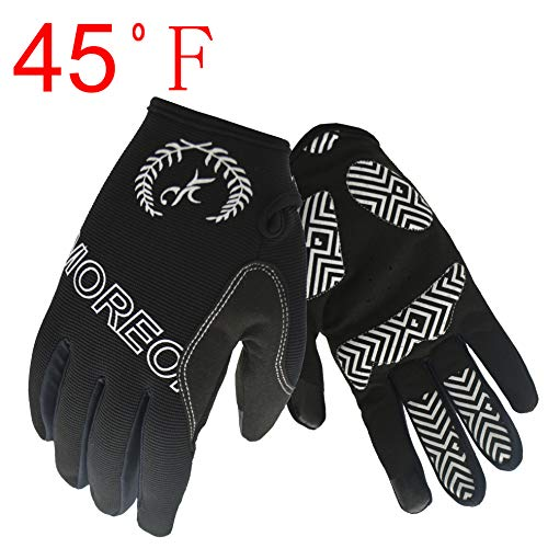 MOREOK Sensitive Touch Screen Gloves Mountain Bike Road Bike Cycling Full Finger Biking Gloves Anti-Slip Shock-Absorbing Hand Warmers Gel Pad Breathable Cycling Sport Gloves (Black
