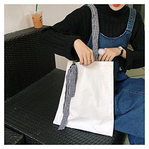 Liso Grande Blanco de 1 Lazo tamaño Lona Color Bolso Black Mano Milnut con 38 34 de cm aynxUW1w