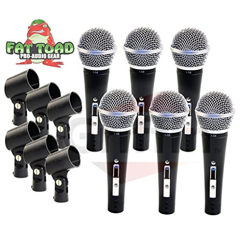 Professional Cardioid Dynamic Microphones & Clips (6 Pack) by Fat Toad|Vocal Handheld, Unidirectional Mic|Singing Microphone Designed for Music Stage Performances & Studio Recording or PA DJ Karaoke Concert Dynamic Vocal Microphone