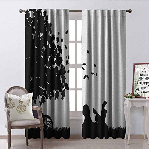 Gloria Johnson Black and White 99% Blackout Curtains Silhouette of a Girl with Bike Reading a Book Under a Tree in Fall for Bedroom- Kindergarten- Living Room W52 x L63 Inch Black and White