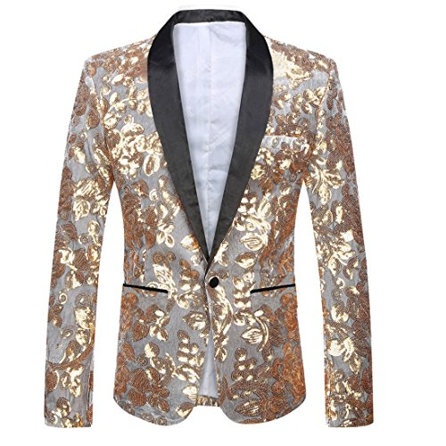 PYJTRL Men Fashion Velvet Sequins Floral Pattern Suit Jacket Blazer (Gold, L/42R)