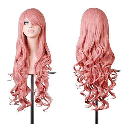 (Rbenxia Curly Cosplay Wig Long Hair Heat Resistant Spiral Costume Wigs Anime Fashion Wavy Curly Cosplay Daily Party Pink 32