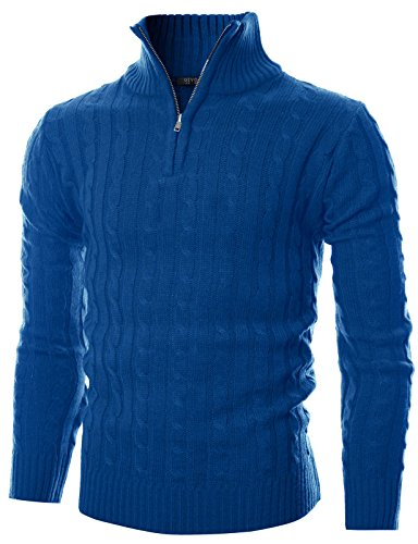 Cable Knit Zip (GIVON Mens Slim Fit Cable Knit Quarter Zip Long Sleeve Turtle Neck Pullover Sweater/DCP044-BLUE-L)
