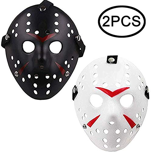 TIHOOD 2PCS Costume Jason Masks Cosplay Halloween Masquerade Party Horror Mask Christmas for Boys Kids, Men and Adults White and Black ()
