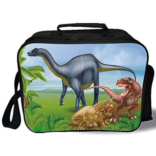 Insulated Lunch Bag,Dinosaur,Different Types of Dinosaurs Natural Jungle Environment T Rex Triceratops Cartoon,Multicolor,for Work/School/Picnic, Grey ()