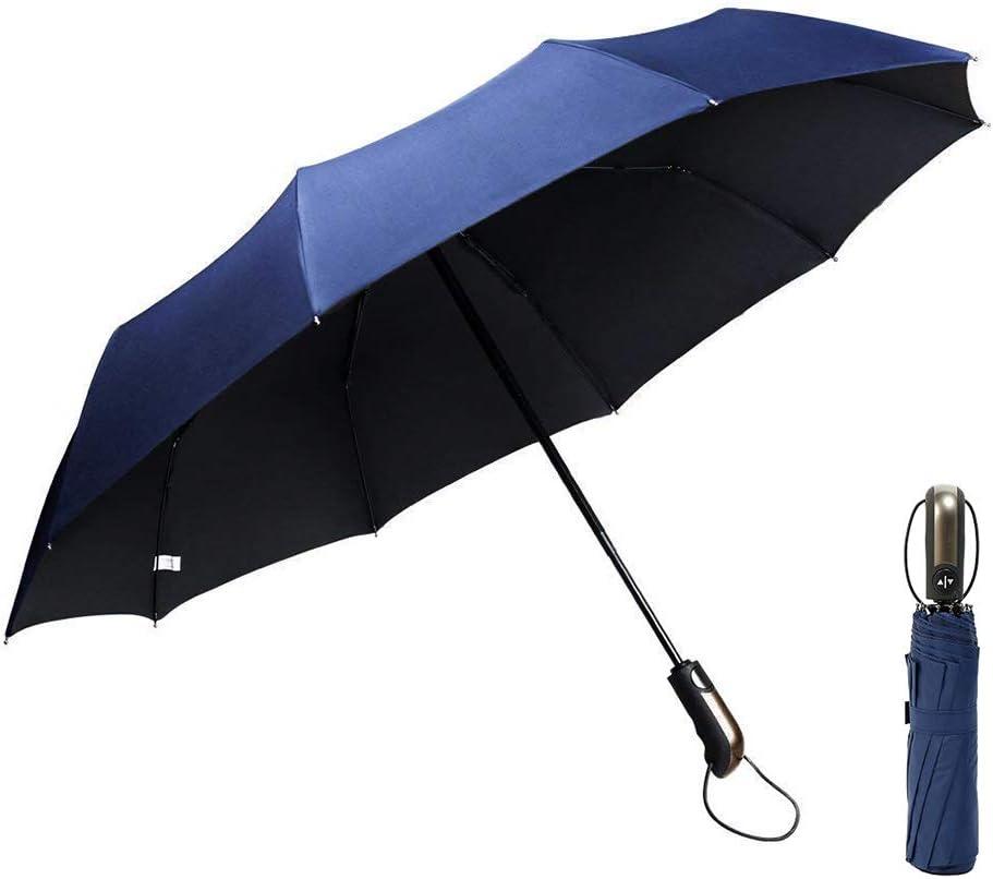 GogoTool Paraguas Plegable 118cm 10 Ribs 210T Nano Material Doble Resistente al Viento Abrir y Cerrar automático Diseño Ligero portátil Plegable Compacto Mujer y Hombre (Azul)