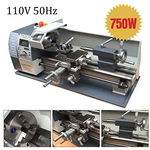 Mini Metal Lathe CNC Machine Variable Speed 110V 750W Brushless DC Motor for Metalworking Stainless Steel Thread Processing WM210V