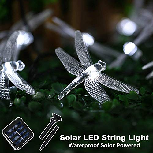 - CIAOYE Outdoor Dragonfly Solar String Lights, 20LED 16ft Waterproof Fairy Lighting for Christmas Trees, Garden, Patio, Fence, Wedding, Party Holiday Decorations (White)
