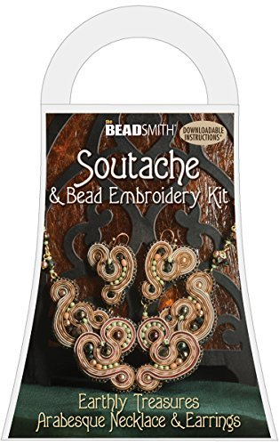 (Soutache and Bead Embroidery Kit, Arabesque Necklace and Earrings (Earthly Treasures - Brown))