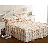 Vintage traditional luxurious summer single bed quilted set frilled fitted bedspread set beverly cream pink floral rose print by HOME-EXPRESSIONS