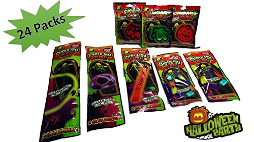 Glow Sticks - Halloween Glow Sticks (24 Packs) Safety and Fun in The Dark For Kids Year-Round - Lighted Halloween Costume - Glowing Pendant - Halloween Decorations
