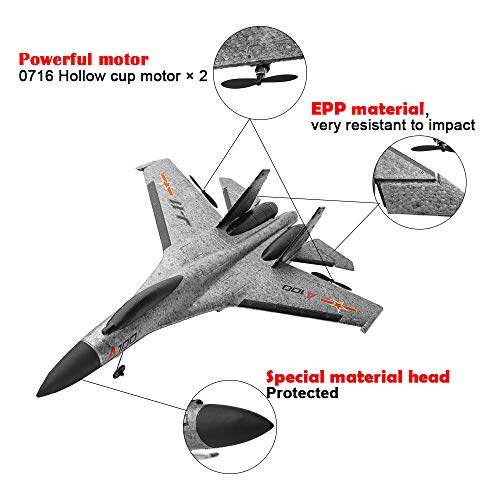 Philohewen 3CH Remote Control Airplane A100 SU-27 3CH 2.4G RC EPP Glider Plane with -