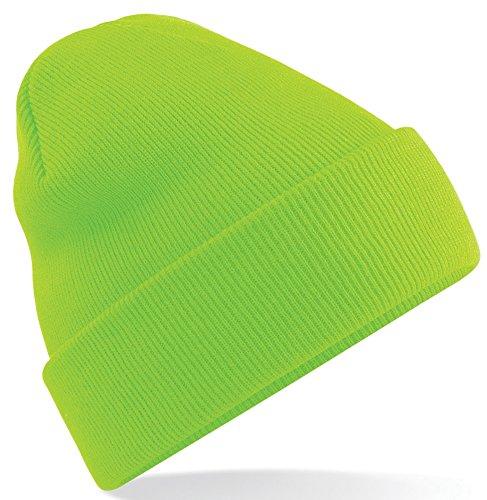 Beechfield-Gorro de Punto para Hombre verde fluorescente