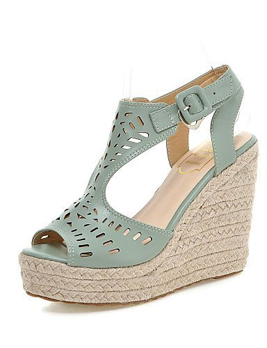 Wedge Blue Sandals ShangYi Heel White Casual Wedges Leatherette Shoes Blue Orange Women's qxYYSPwtR