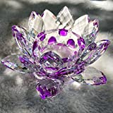 Crystal Lotus Candle Holder 4.5' in Gift Box (PURPLE)