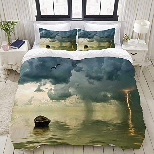 (VAMIX Old Boat in The Ocean Near The Vivid Streak Bolt of Thunder with A Sea Gull Studio Single Apartment Decorate Decorative Custom Design 3 PC Duvet Cover Set King)