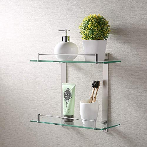 KES Bathroom Lavatory Double Glass Shelf Wall Mount, Rustproof Brushed SUS304 Stainless Steel, BGS2202B-2