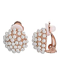 Yoursfs Clip On Earrings with Round Austrian Crystals (18k Rose Gold Plated) (White Pearl)
