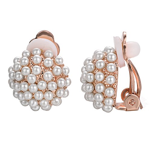 - Yoursfs Clip On Earrings with Round Austrian Crystals (18k Rose Gold Plated) (White Pearl)